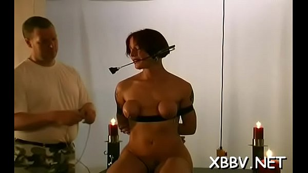 Bondage, Standing, Tied wife, Breast
